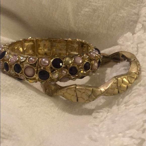 Lia Sophia gold and purple bracelet set